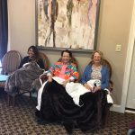 Patients covered by blankets, relaxing and sitting in the waiting room. Dunwoody, GA.